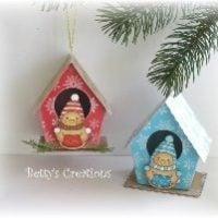 Новогодние домики из цветной бумаги